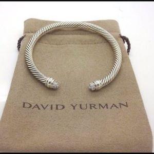 David Yurman 5mm Silver Diamond Tips Bracelet